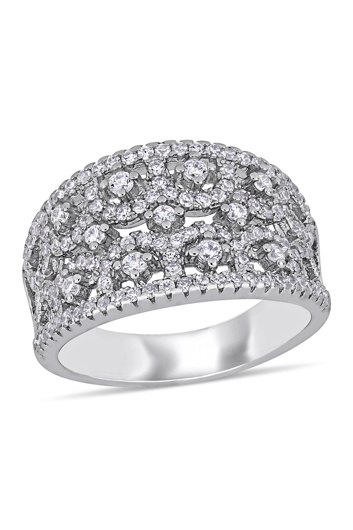 Image of Delmar Sterling Silver Pave CZ Filigree Band Ring