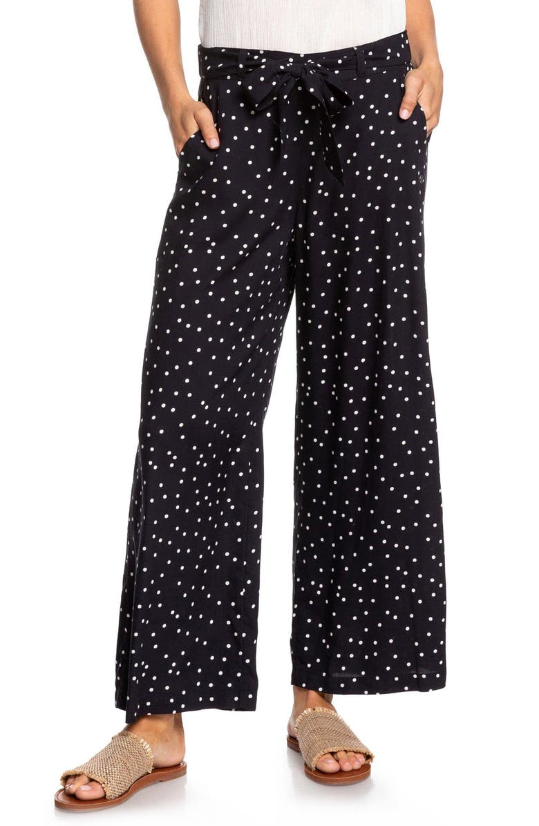 ROXY South of World Wide Leg Pants, Main, color, SNOW WHITE LITTLE THING