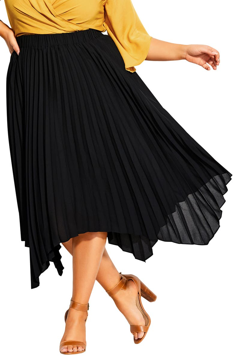 CITY CHIC Simple Pleated Skirt, Main, color, BLACK