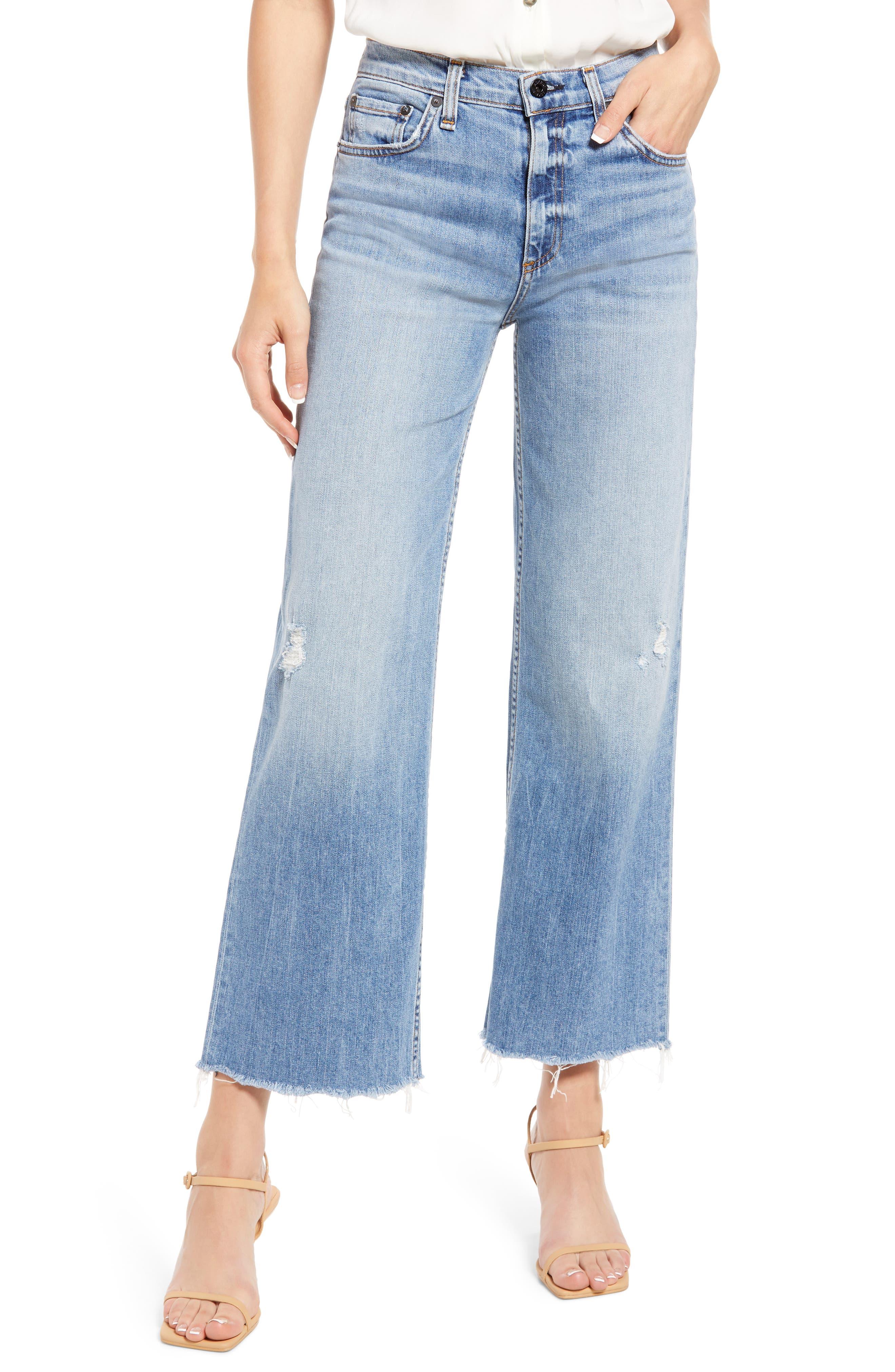 Distressed Crop Wide Leg Jeans