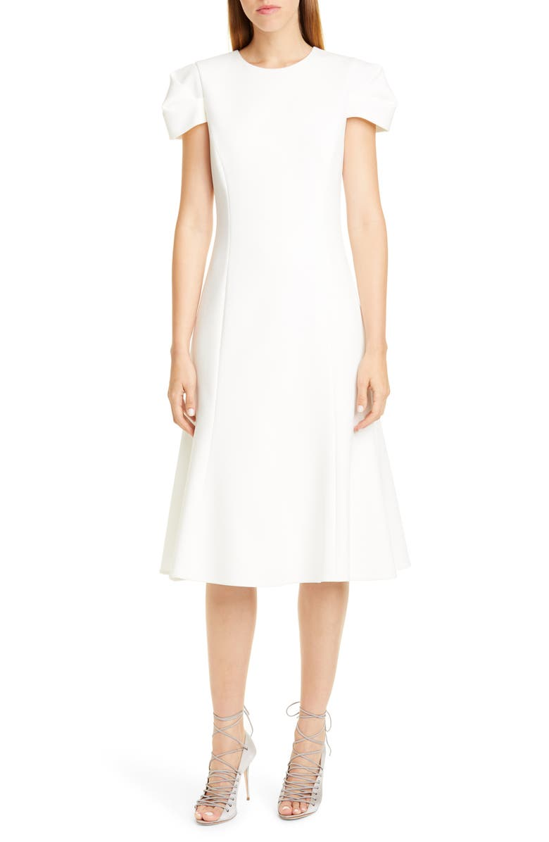 JASON WU COLLECTION Compact Crepe Fit & Flare Dress, Main, color, CHALK/ CHALK
