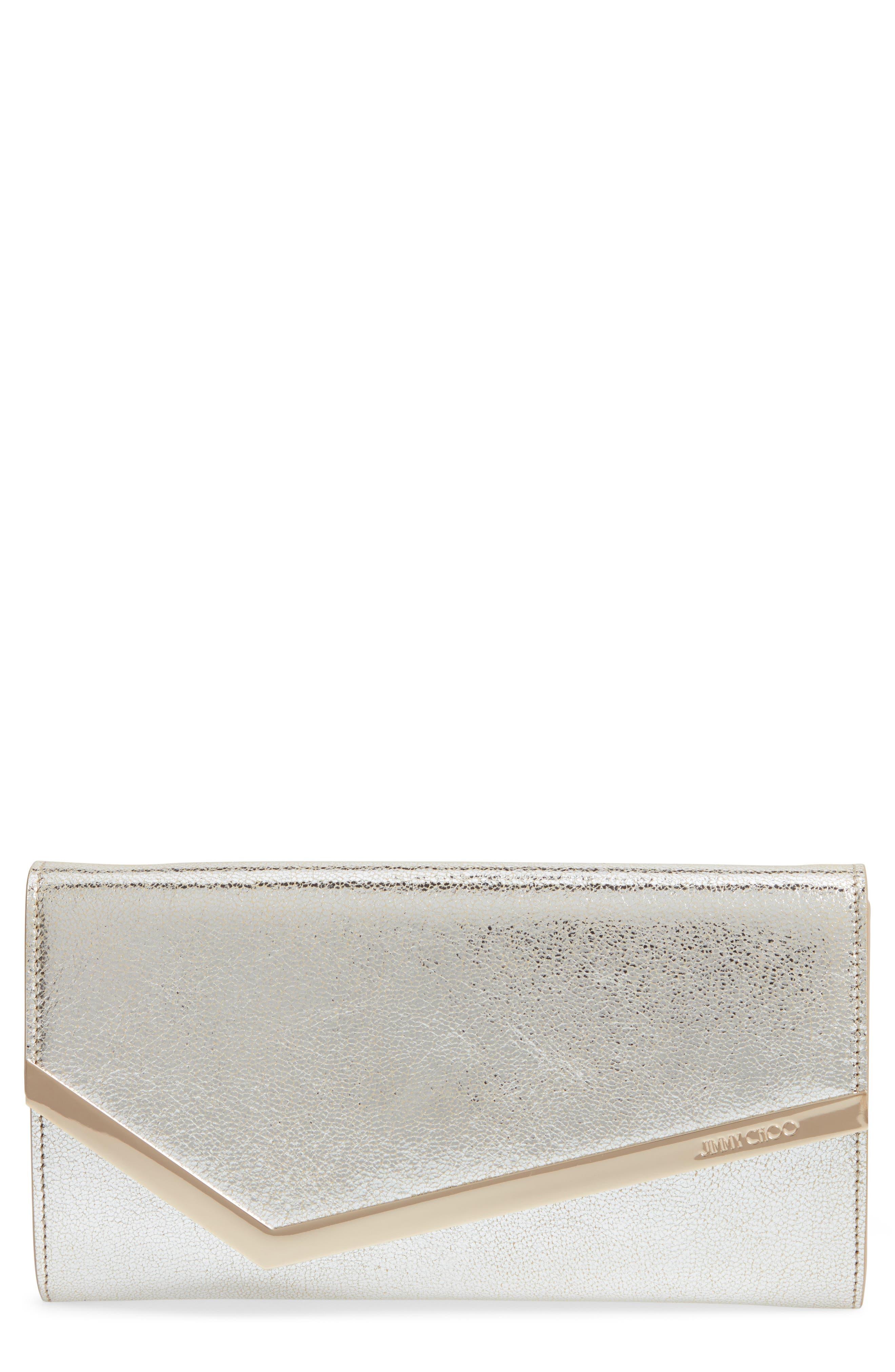 Jimmy Choo Emmie Glitter Leather Clutch   Nordstrom