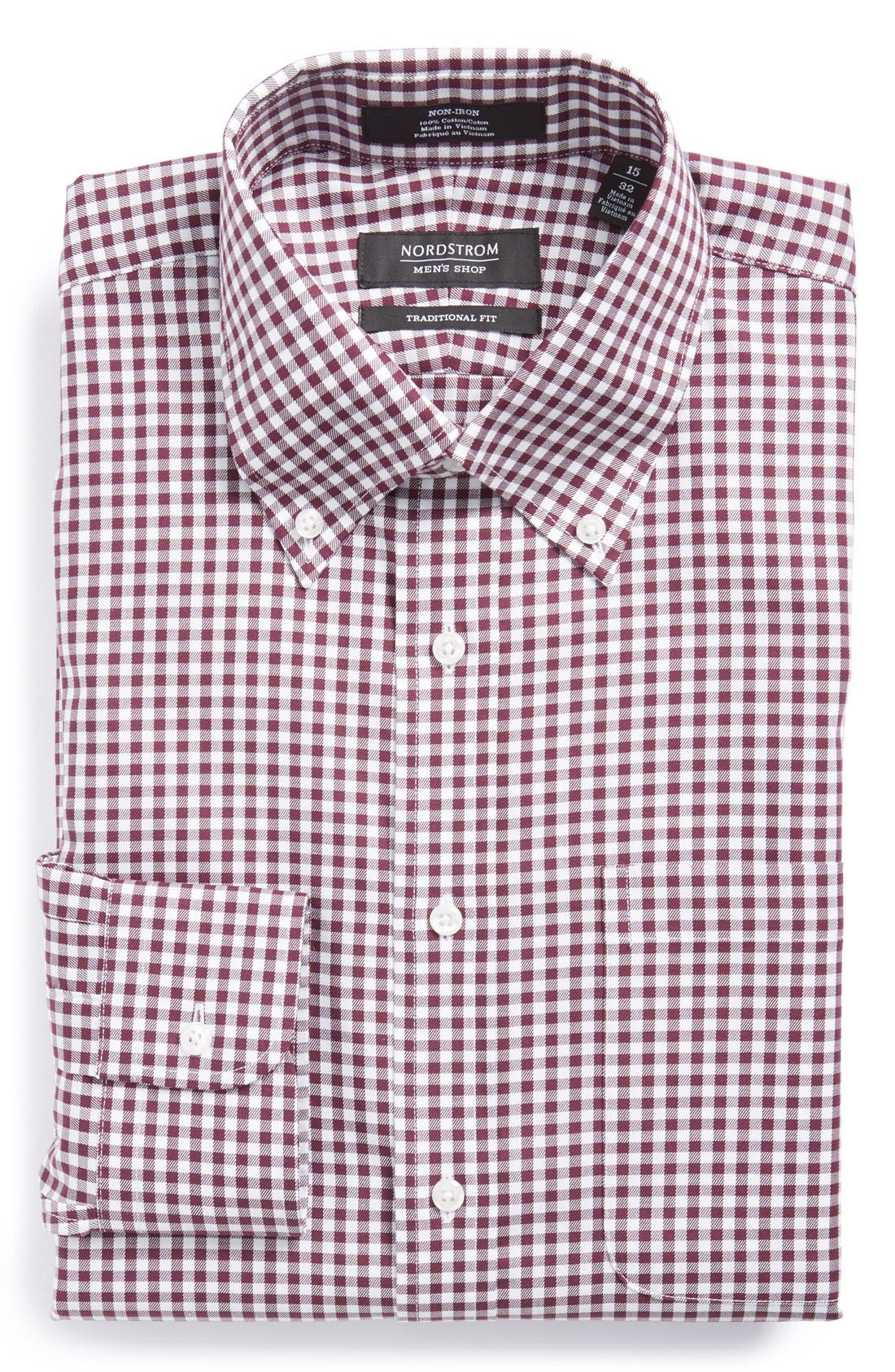 ,                             Traditional Fit Non-Iron Gingham Dress Shirt,                             Main thumbnail 60, color,                             501