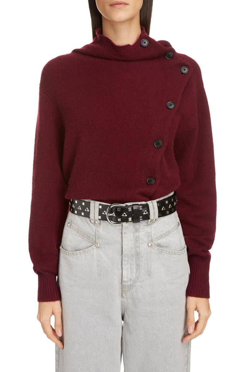 ISABEL MARANT Asymmetrical Button Cashmere Sweater, Main, color, 930