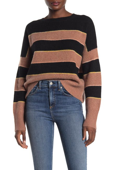 Image of 360 Cashmere Abigail Striped Dolman Cashmere Sweater