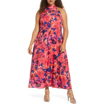 Plus Size Tahari Floral Halter Neck Maxi Dress, Coral