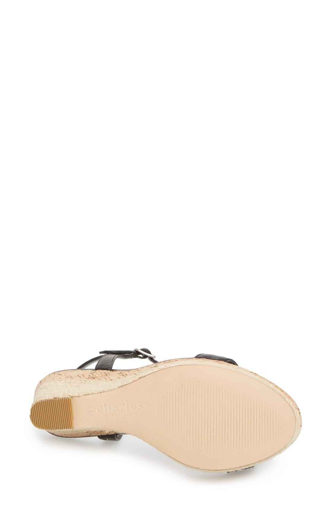 ,                             'Alabama' Espadrille Wedge Sandal,                             Alternate thumbnail 3, color,                             001