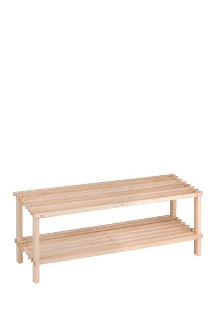 Image of Honey-Can-Do Natural Pine Wood 2-Tier Shoe Rack