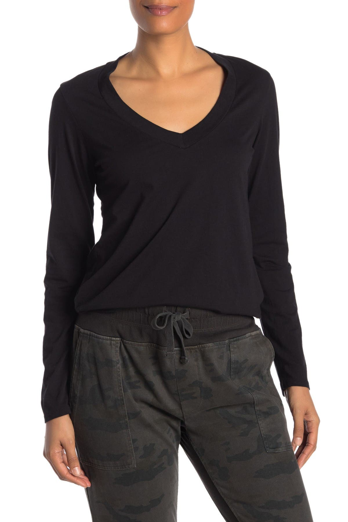 Image of James Perse Solid V-Neck Long Sleeve T-Shirt