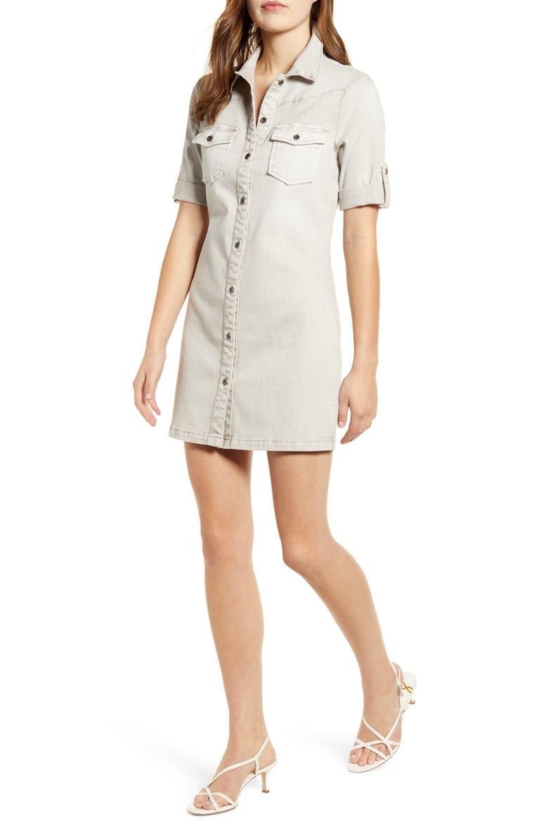 WASH LAB Jean Style Short Sleeve Shirtdress, Main, color, MOTT