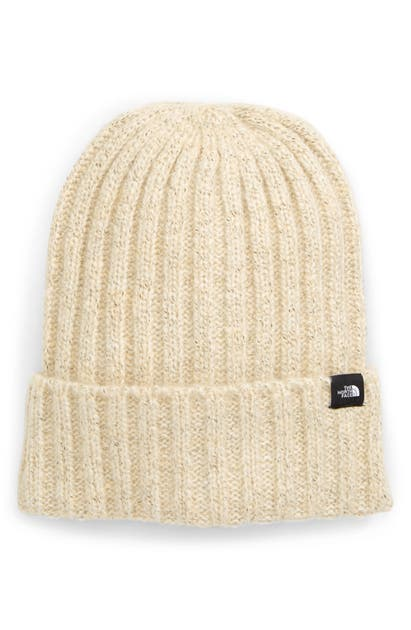 The North Face Marled Rib Logo Beanie In Bleached Sand