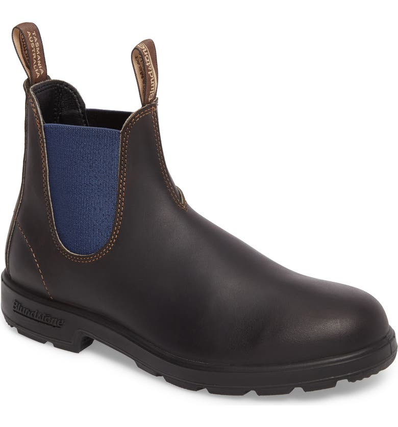 BLUNDSTONE FOOTWEAR Blundstone Chelsea Boot, Main, color, BROWN/ BLUE LEATHER