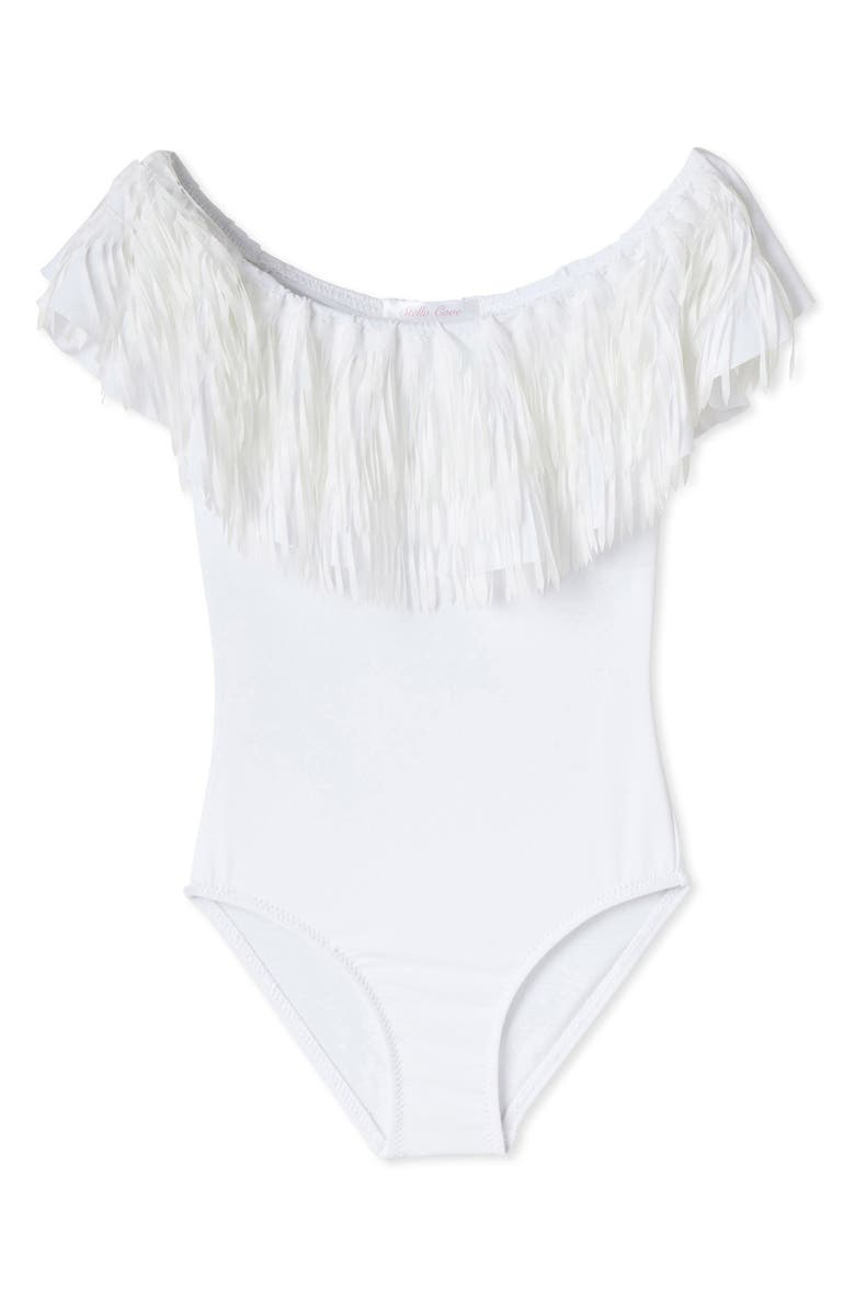 STELLA COVE Fringe One-Piece Swimsuit, Main, color, WHITE