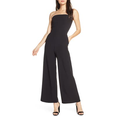 Fraiche By J Strapless Wide Leg Jumpsuit, Black