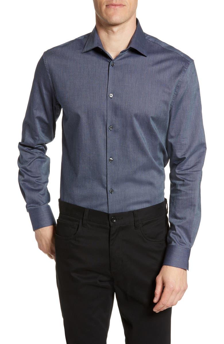 JOHN VARVATOS STAR USA Trim Fit Dress Shirt, Main, color, INDIGO