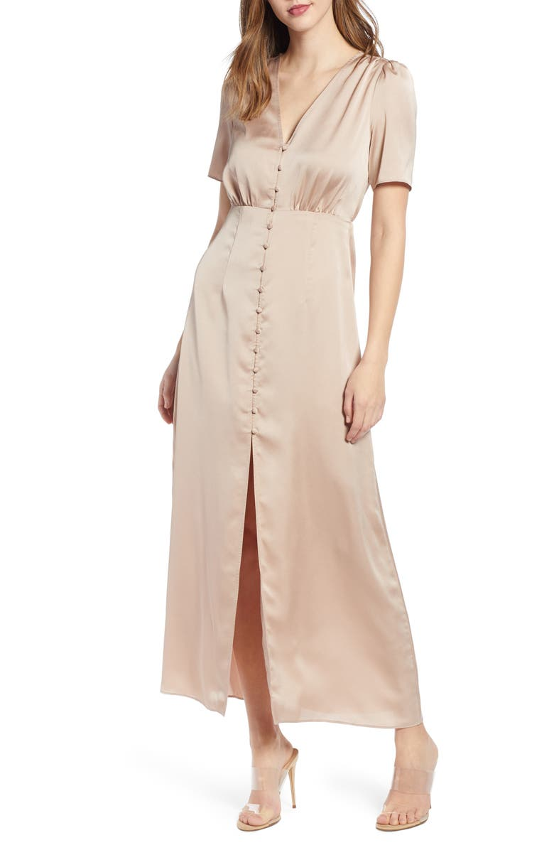 LEITH Front Button Maxi Dress, Main, color, TAN TAUPE