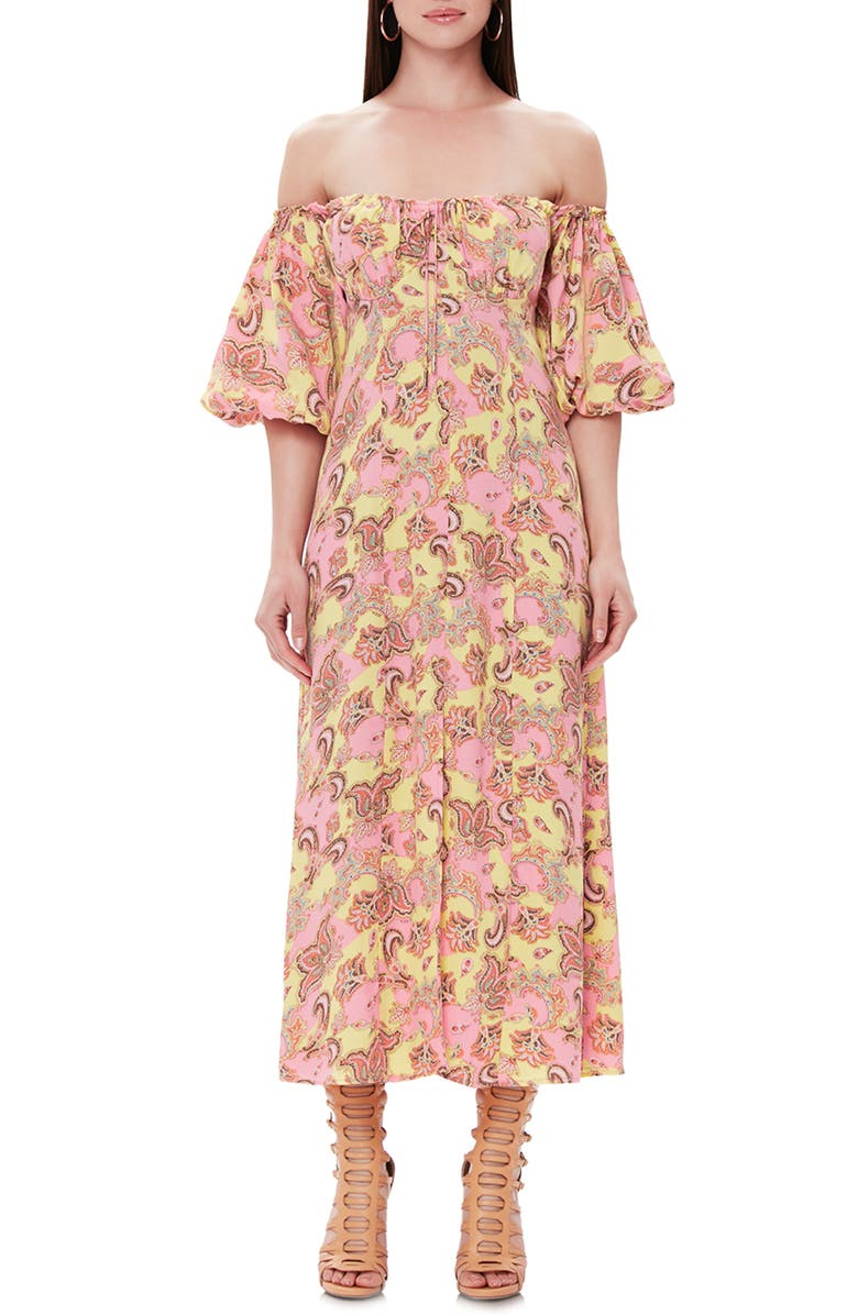 AFRM Marta Off the Shoulder Midi Dress, Main, color, PETITE PAISLEY