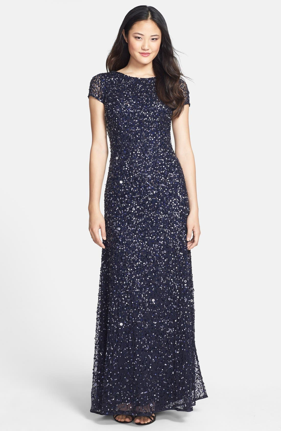 ,                             Short Sleeve Sequin Mesh Gown,                             Main thumbnail 48, color,                             410