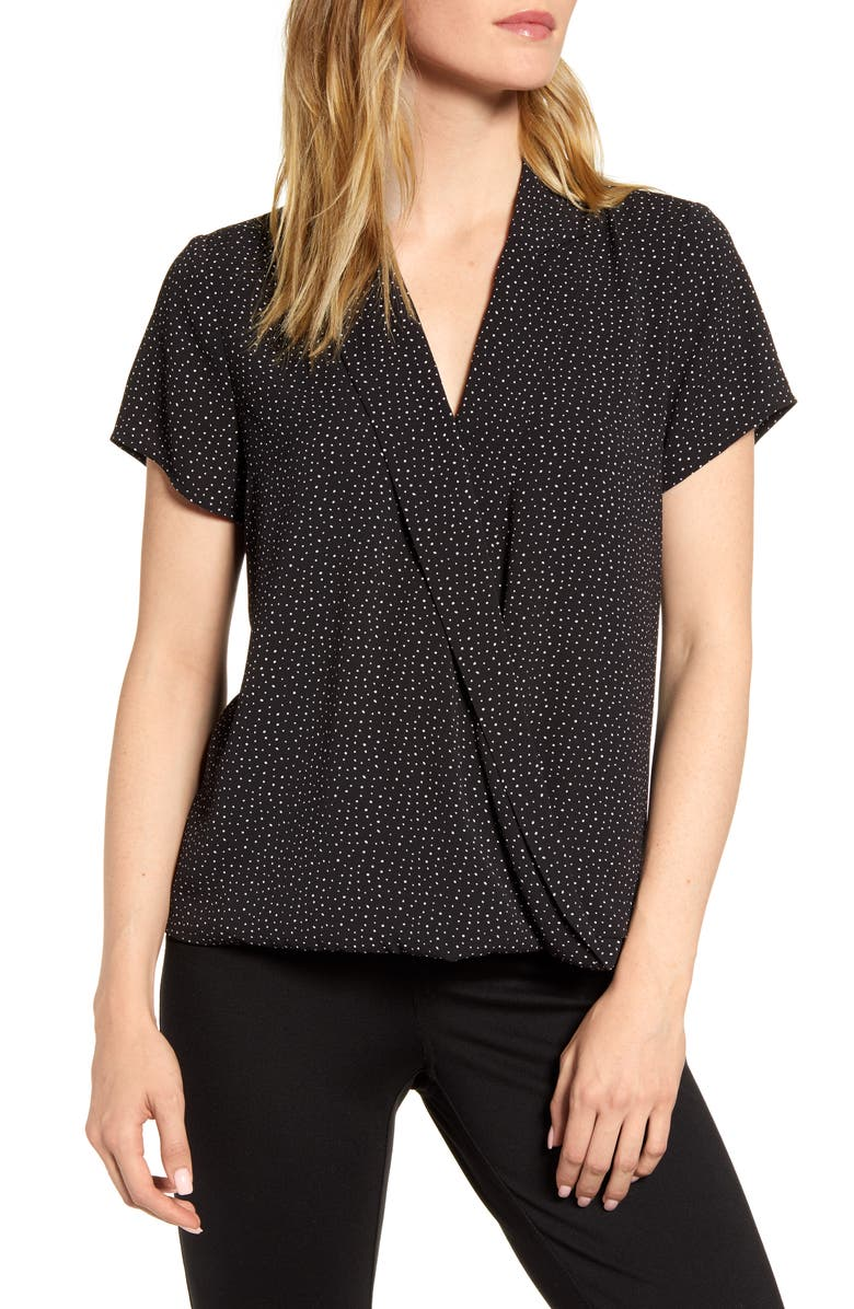 VINCE CAMUTO Speckle Dot Wrap Top, Main, color, RICH BLACK