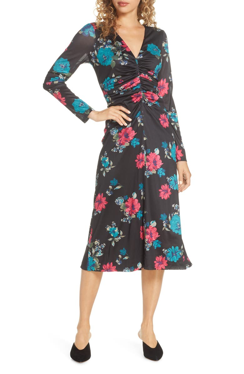 CHARLES HENRY Long Sleeve Ruched Front Midi Dress, Main, color, BLACK FLORAL