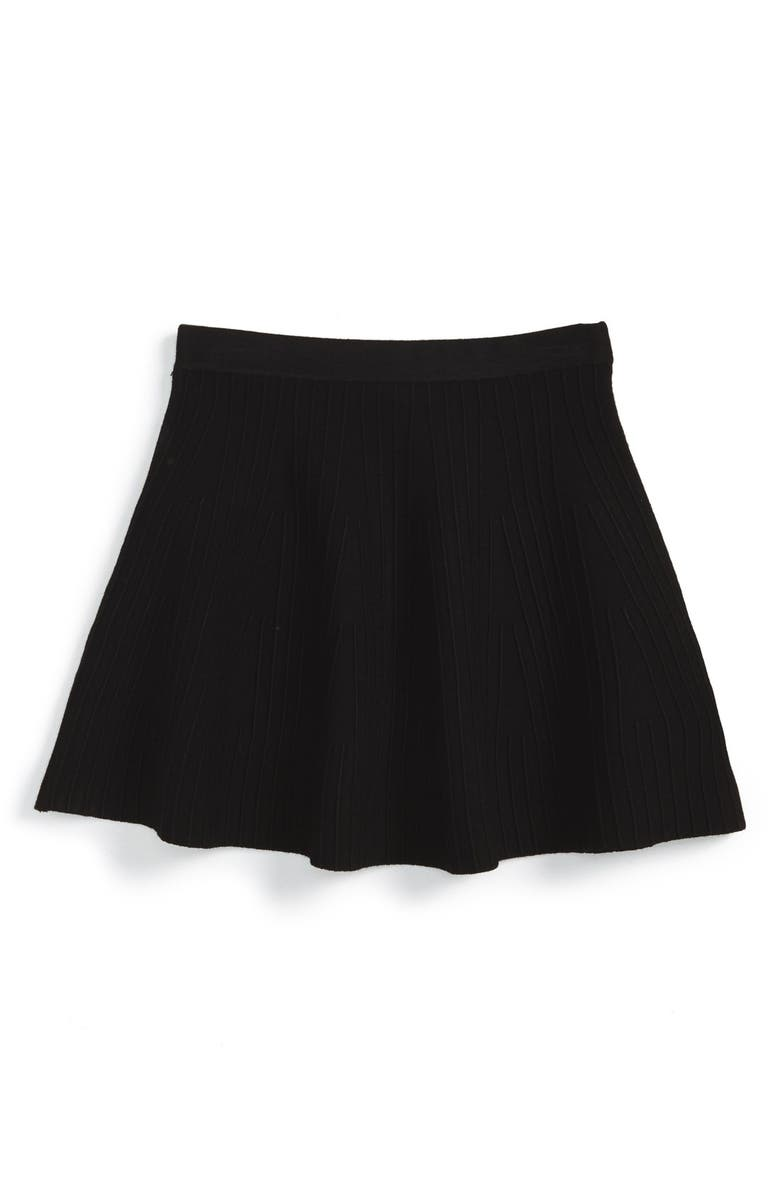 MILLY MINIS Textured Stripe Flare Skirt, Main, color, 001