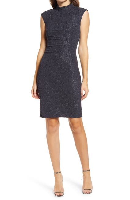 Image of Eliza J Cap Sleeve Glitter Knit Sheath Cocktail Dress