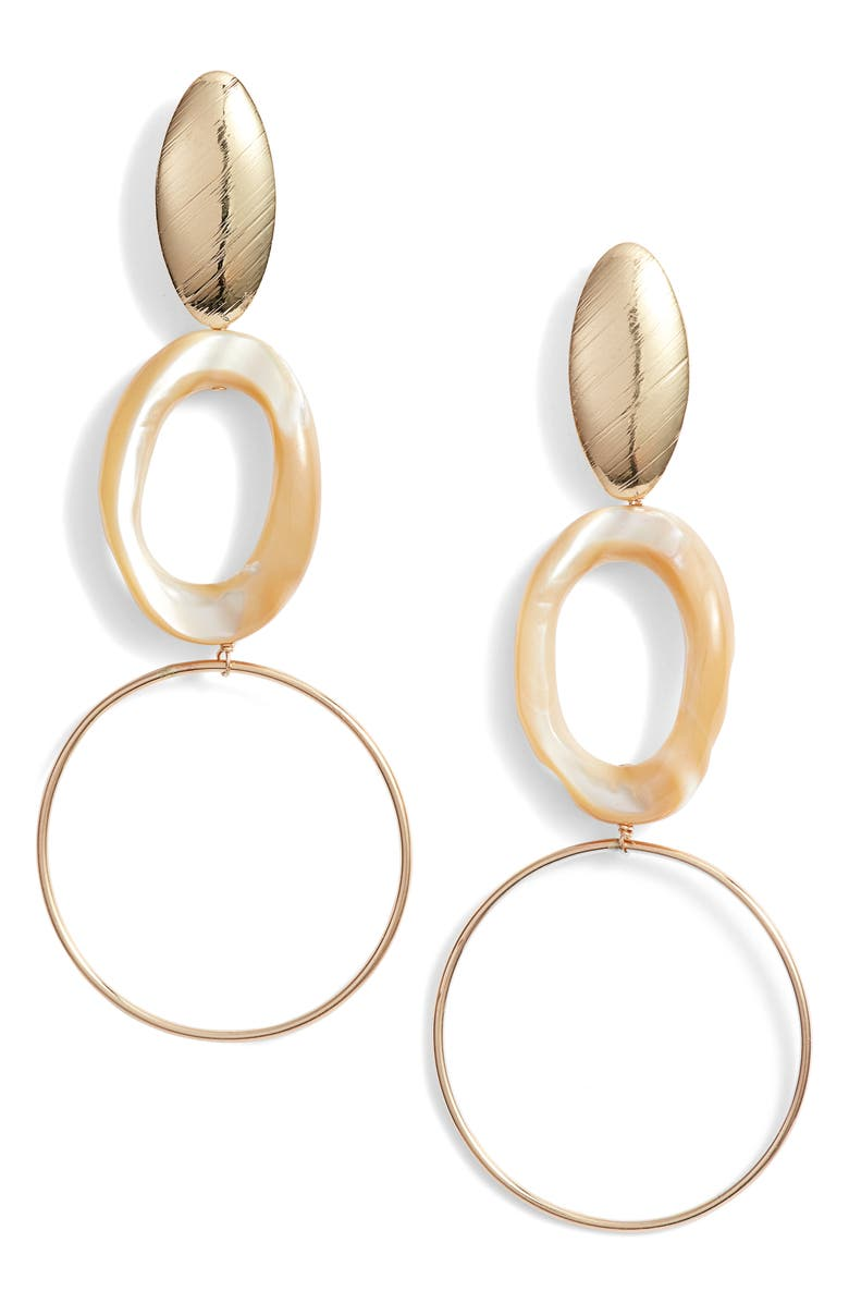MARIDA Fresco Double Hoop Earrings, Main, color, PEARL/ GOLD