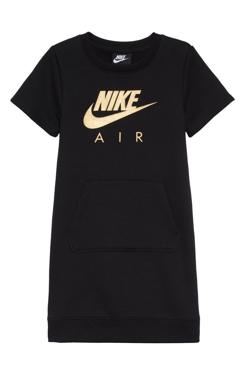 NIKE Air Logo Sweatshirt Dress, Main, color, BLACK
