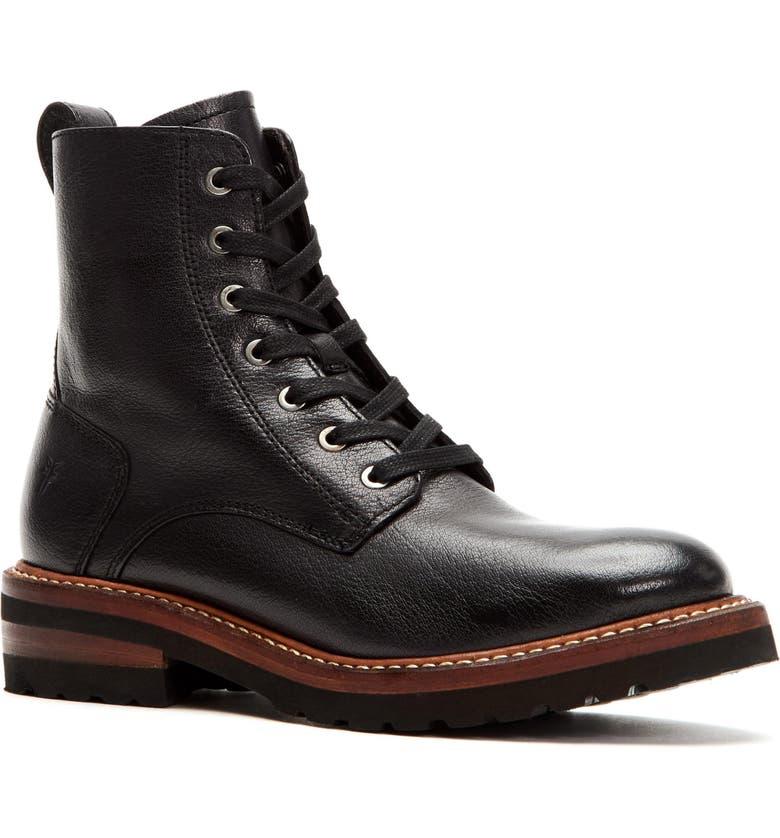 FRYE Ella Combat Boot, Main, color, BLACK LEATHER