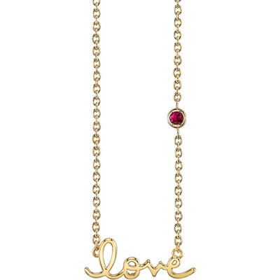 Syd By Sydney Evan Love Necklace With Ruby