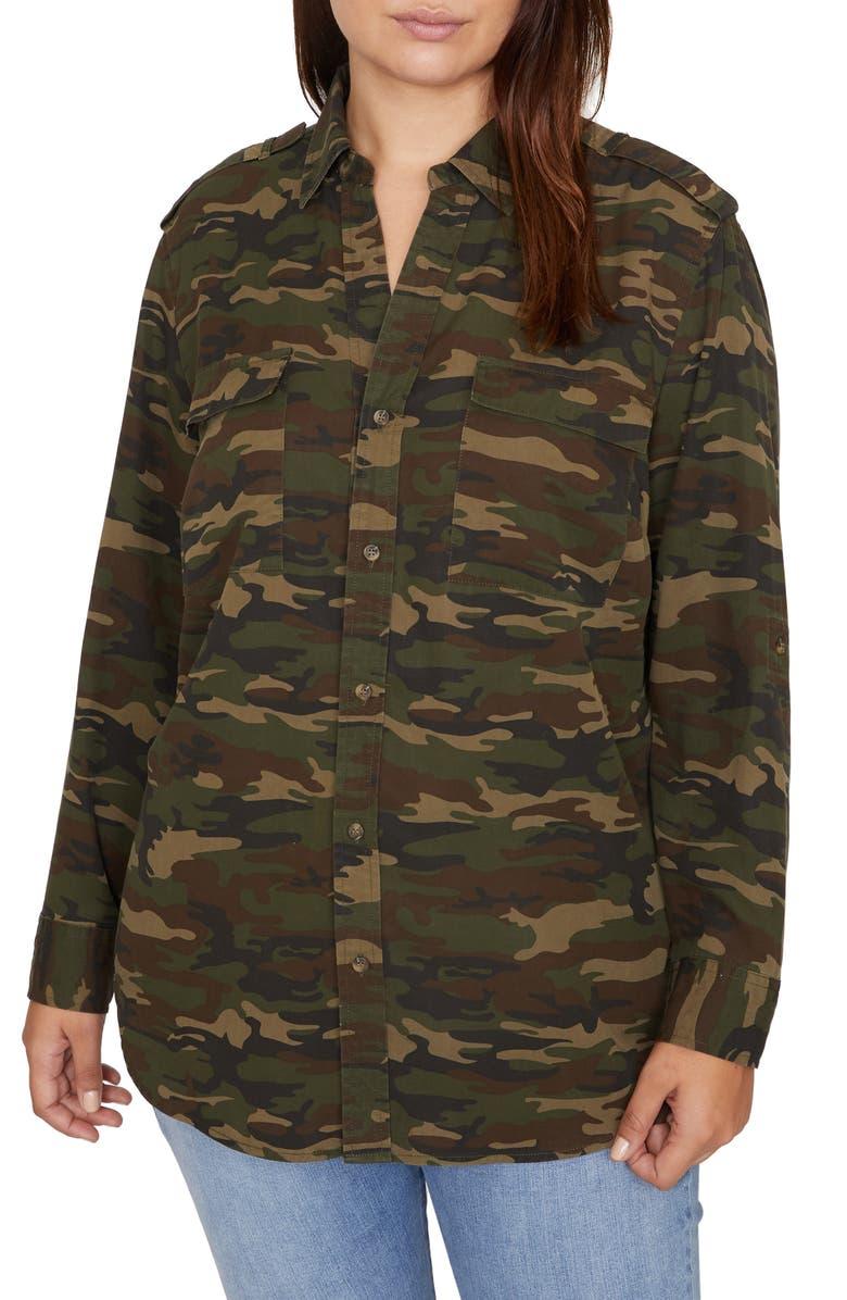 SANCTUARY Conroy Surplus Button Front Shirt, Main, color, HERO CAMO