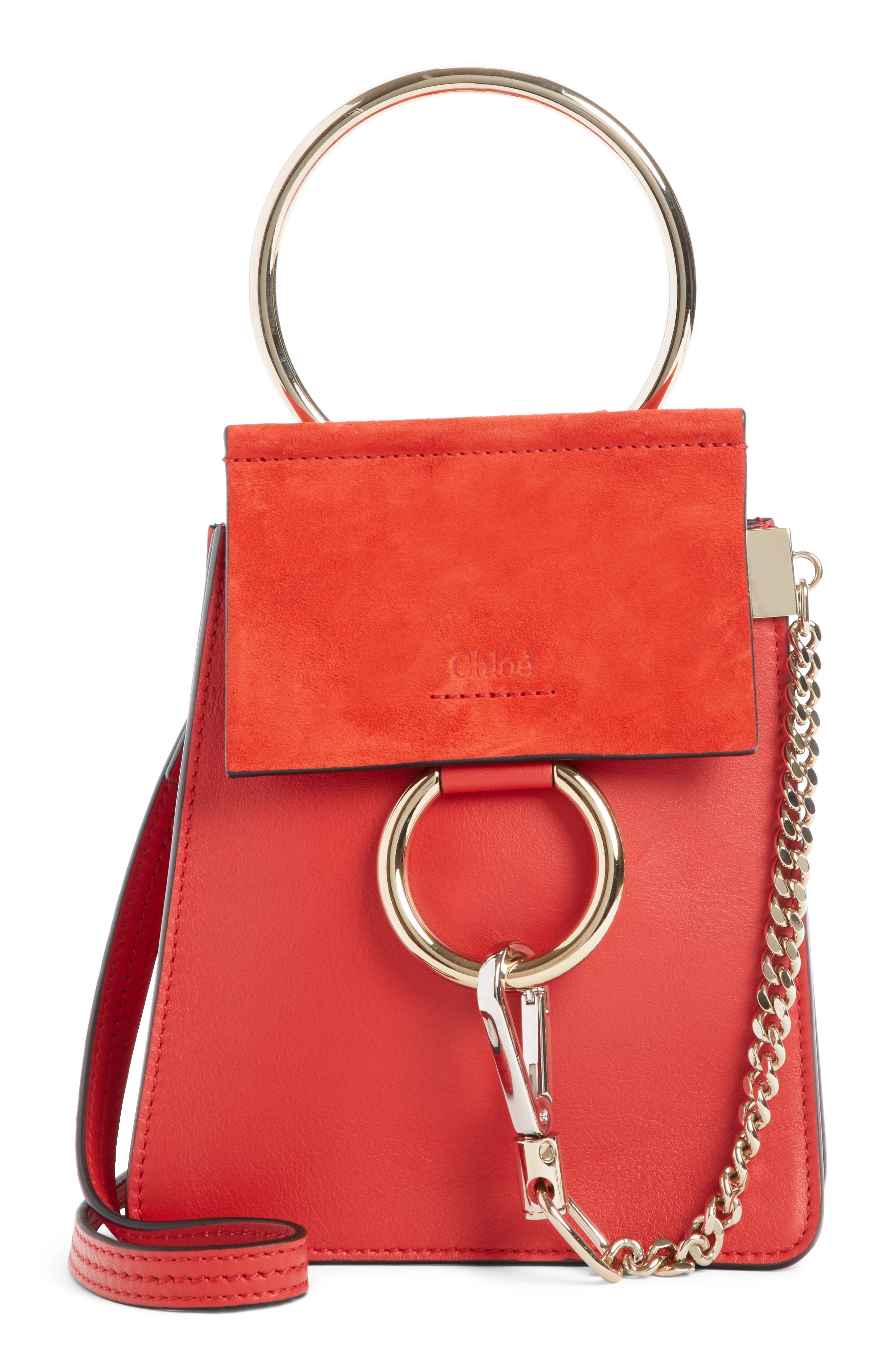 Faye Small Suede & Leather Bracelet Bag, Main, color, PLAID RED