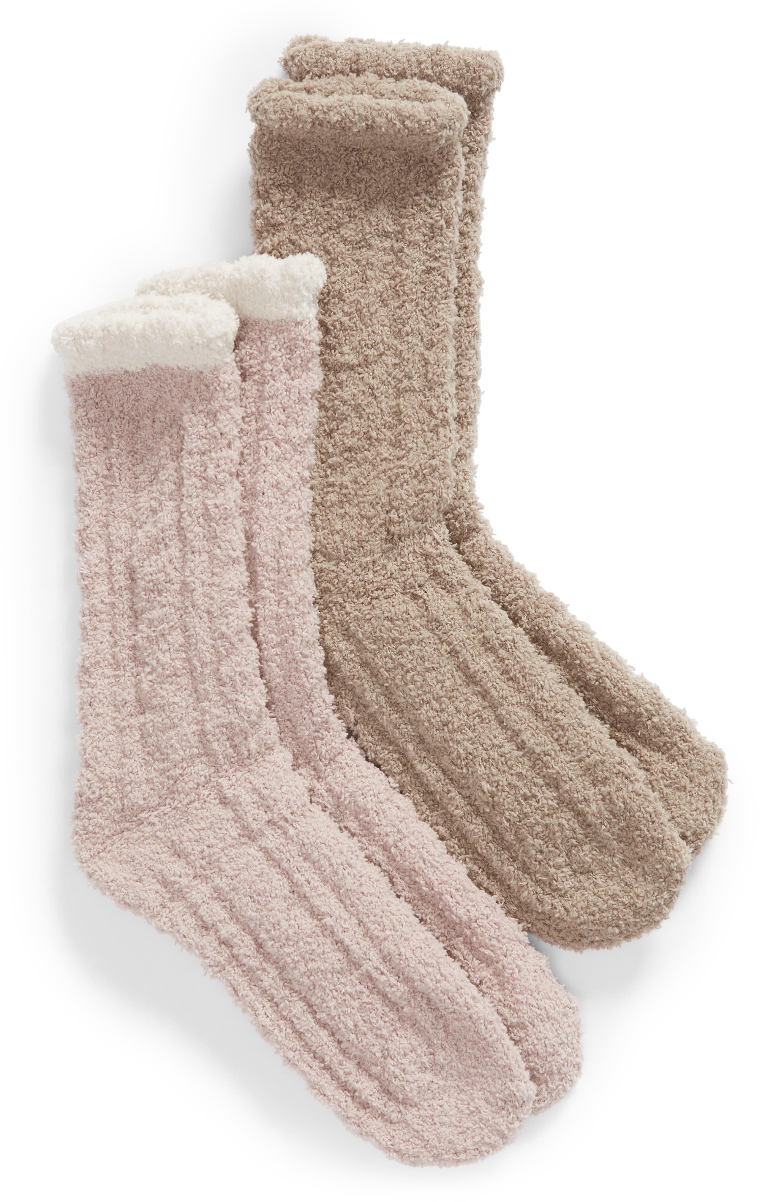 Lemon 2-Pack Plush Cable Knit Crew Socks