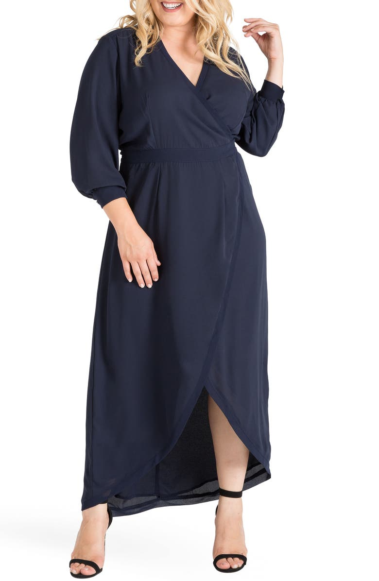 STANDARDS & PRACTICES Elle High/Low Wrap Dress, Main, color, MIDNIGHT BLUE