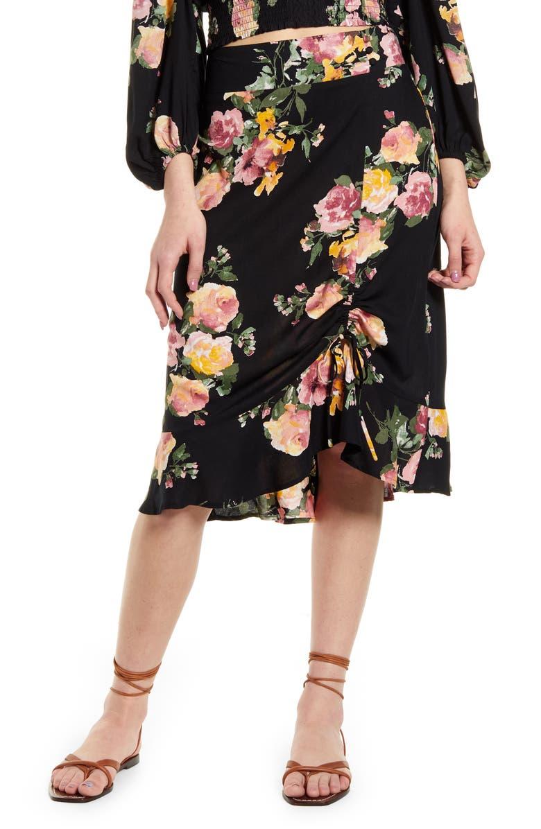 BAND OF GYPSIES Siena Floral Print Skirt, Main, color, BLACK ROSE