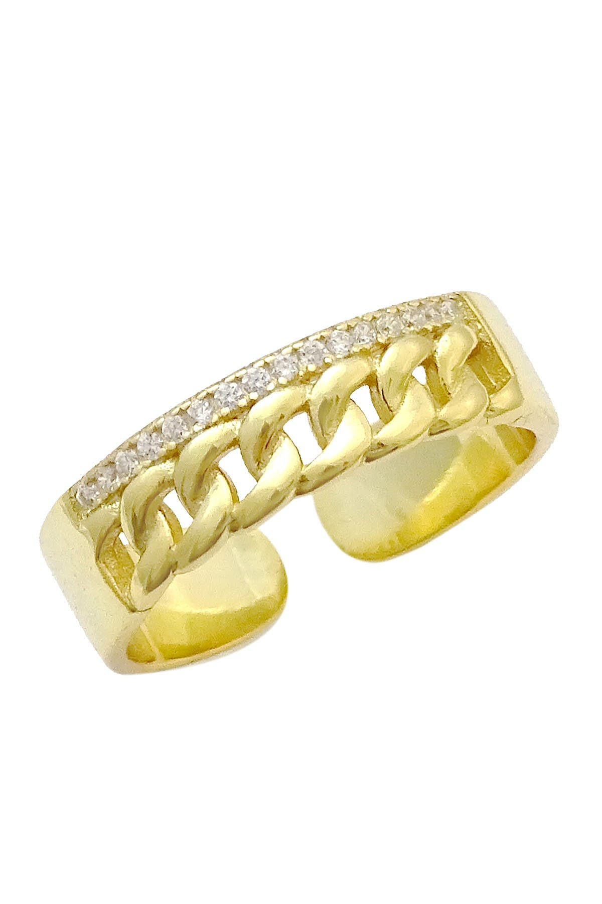 Image of Savvy Cie 18K Yellow Gold Vermeil Pave CZ & Chain Detail Open Band Ring