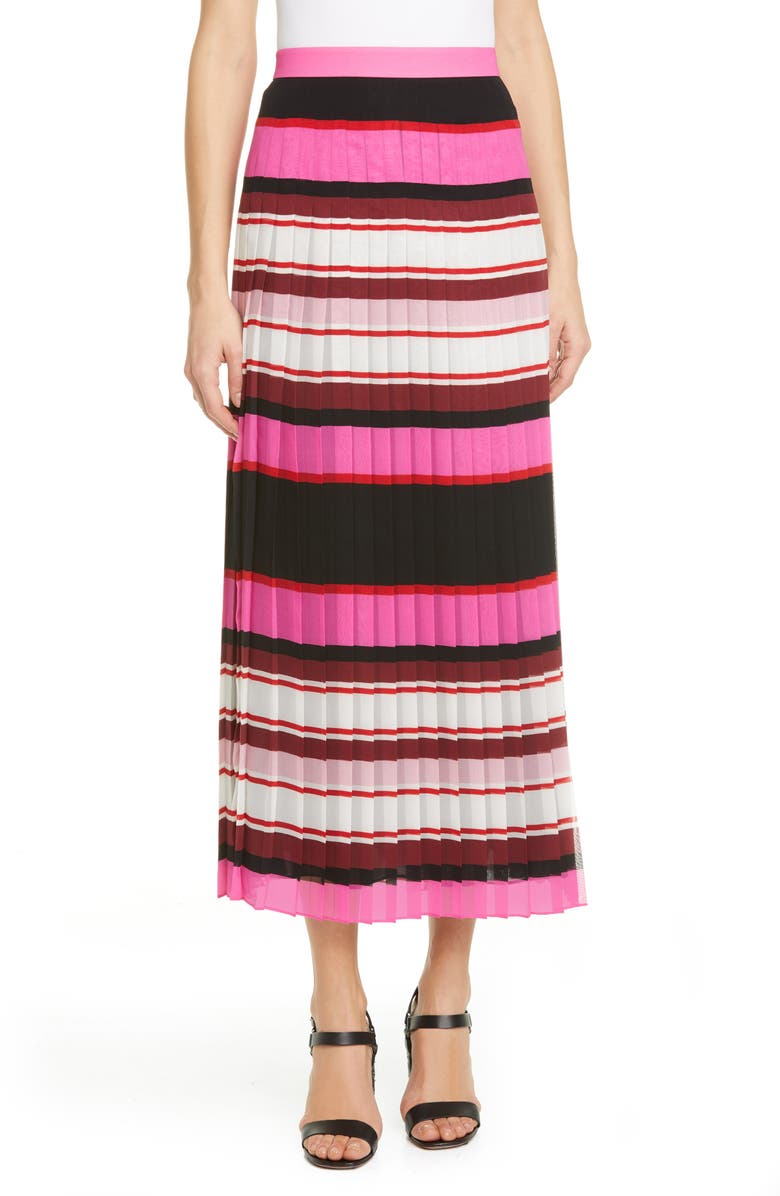 VALENTINO Stripe Pleat Silk Georgette Midi Skirt, Main, color, ROSE/ MULTICOLOR