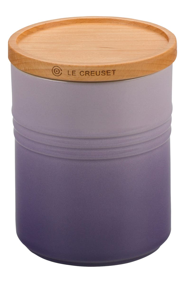 LE CREUSET Glazed 22 Ounce Stoneware Storage Canister with Wooden Lid, Main, color, PROVENCE
