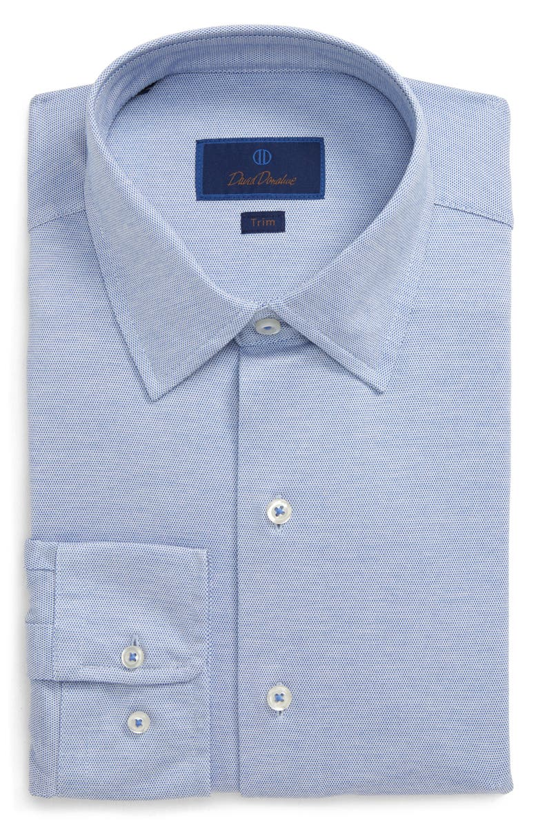 DAVID DONAHUE Trim Fit Solid Dress Shirt, Main, color, BLUE