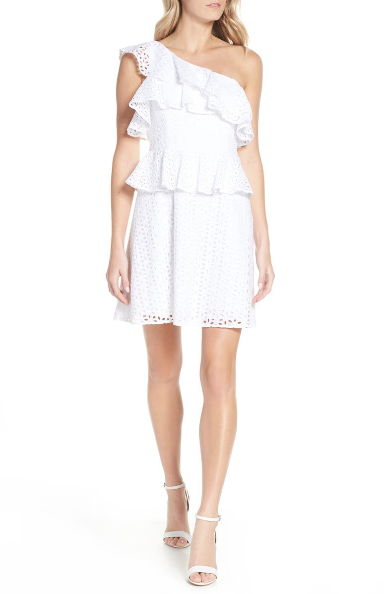 LILLY PULITZER<SUP>®</SUP> Josey Eyelet One-Shoulder Dress, Main, color, RESORT WHITE OVAL FLOWER