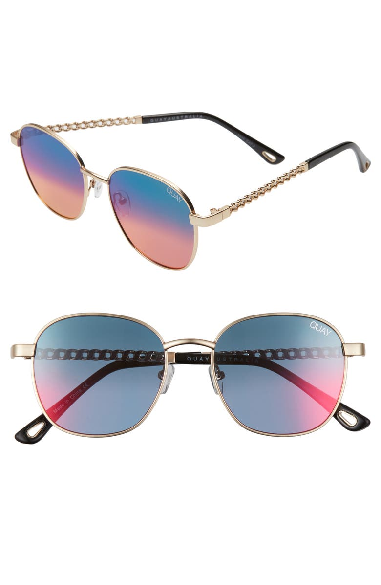 QUAY AUSTRALIA Link Up 51mm Round Sunglasses with Chain Strap, Main, color, GOLD/BLUE/RED