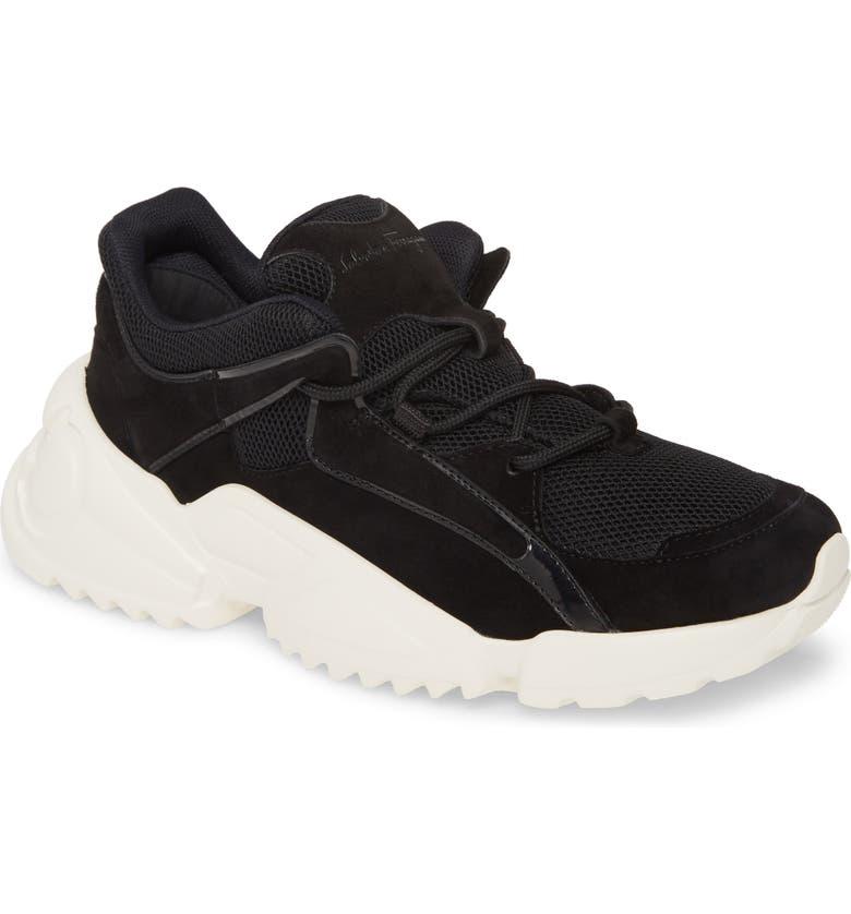 SALVATORE FERRAGAMO Skylar Sneaker, Main, color, BLACK