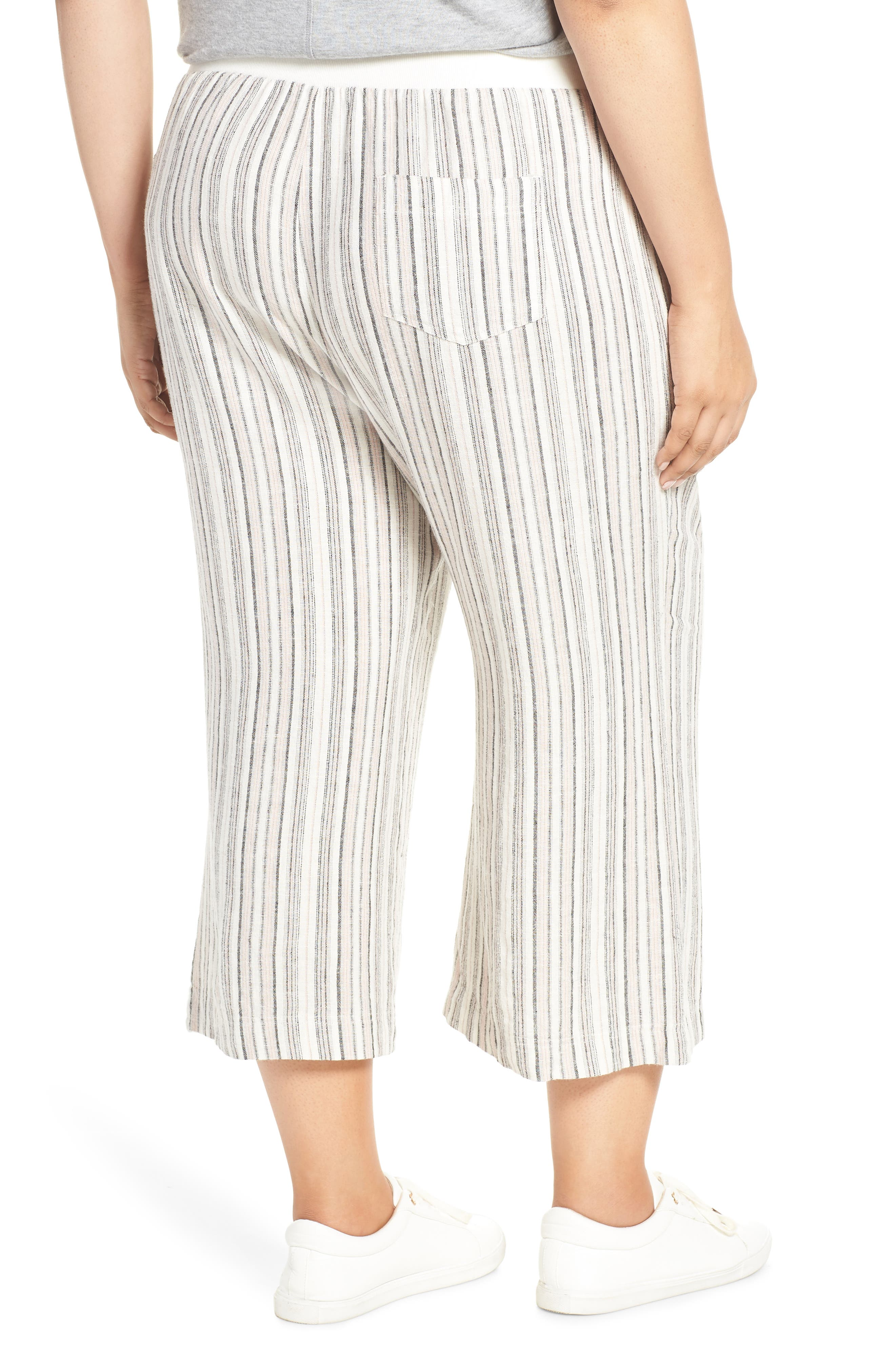 ,                             Stripe Crop Linen Blend Pants,                             Alternate thumbnail 17, color,                             680