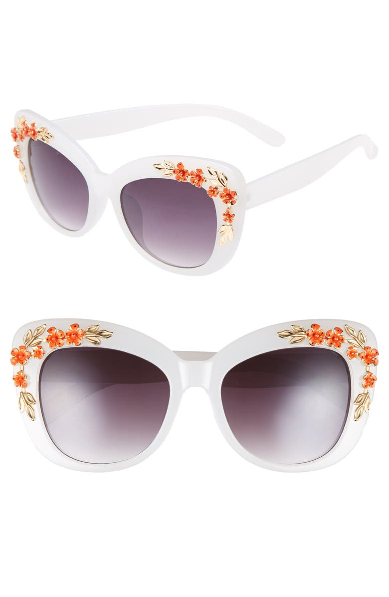 LEITH 52mm Embellished Square Sunglasses, Main, color, 100