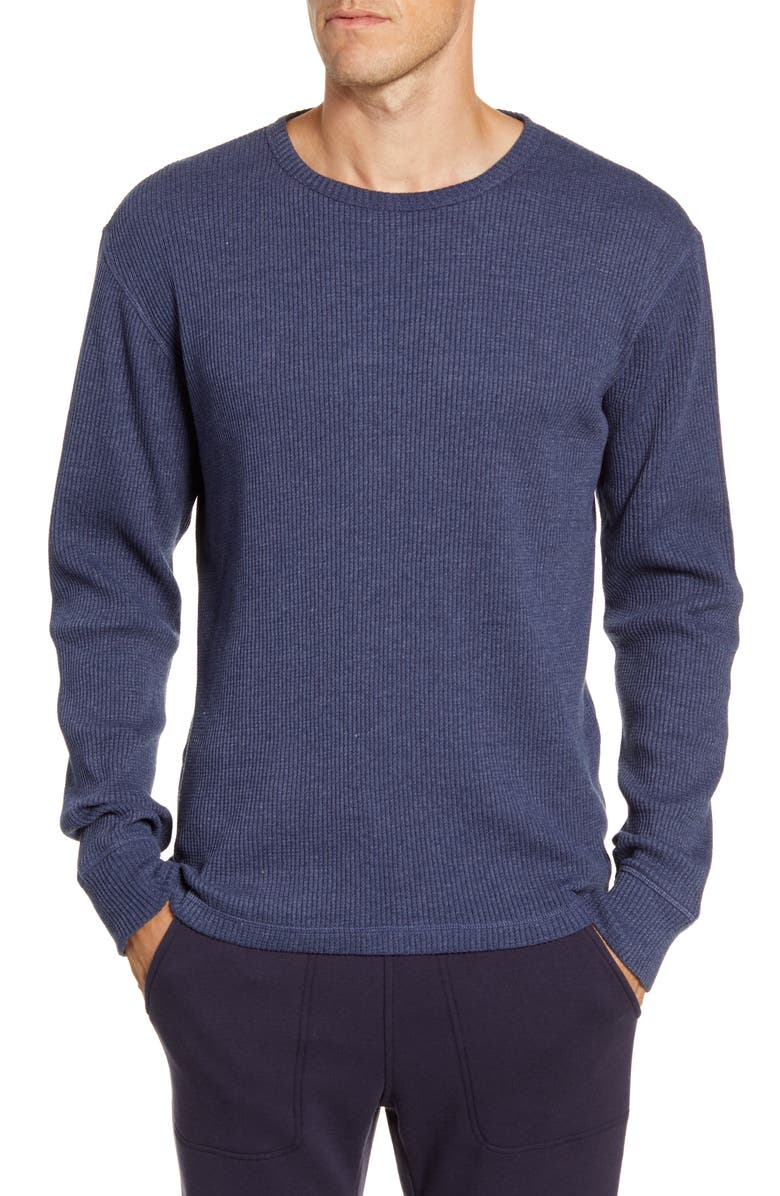 UGG<SUP>®</SUP> Adam Waffle Knit Long Sleeve T-Shirt, Main, color, NAVY HEATHER