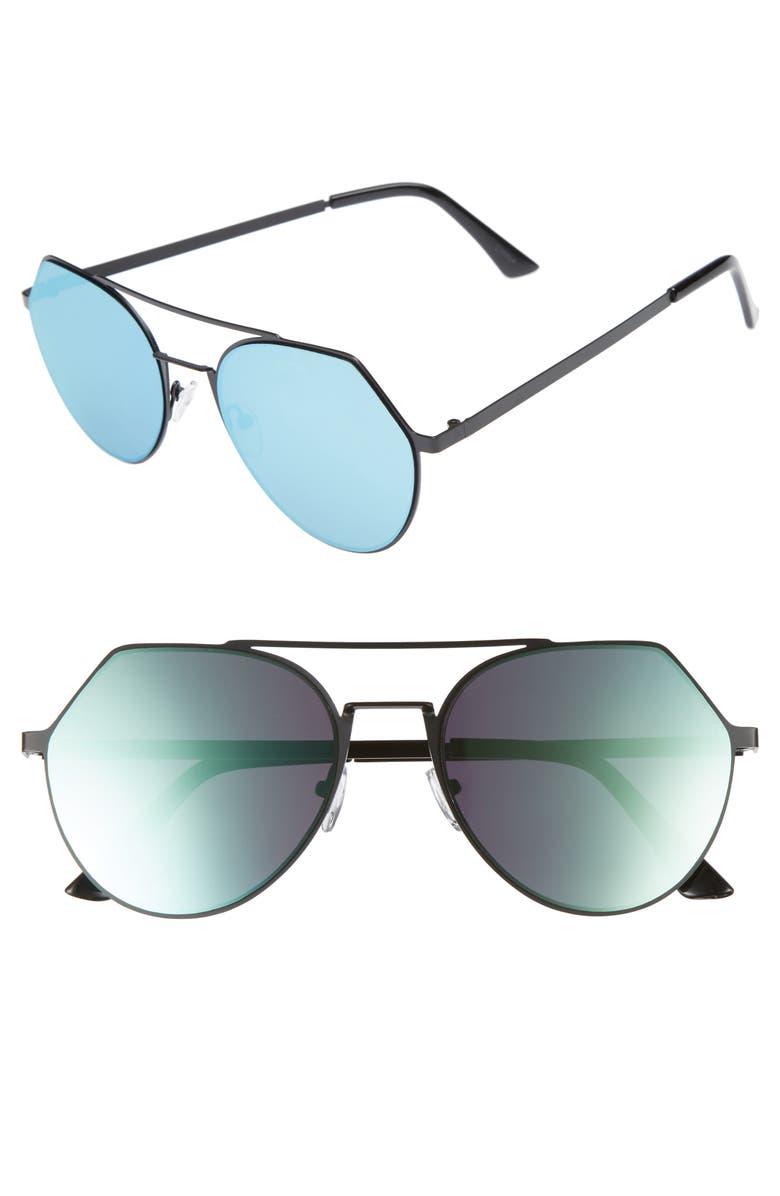 LEITH Mirrored Aviator Sunglasses, Main, color, 001