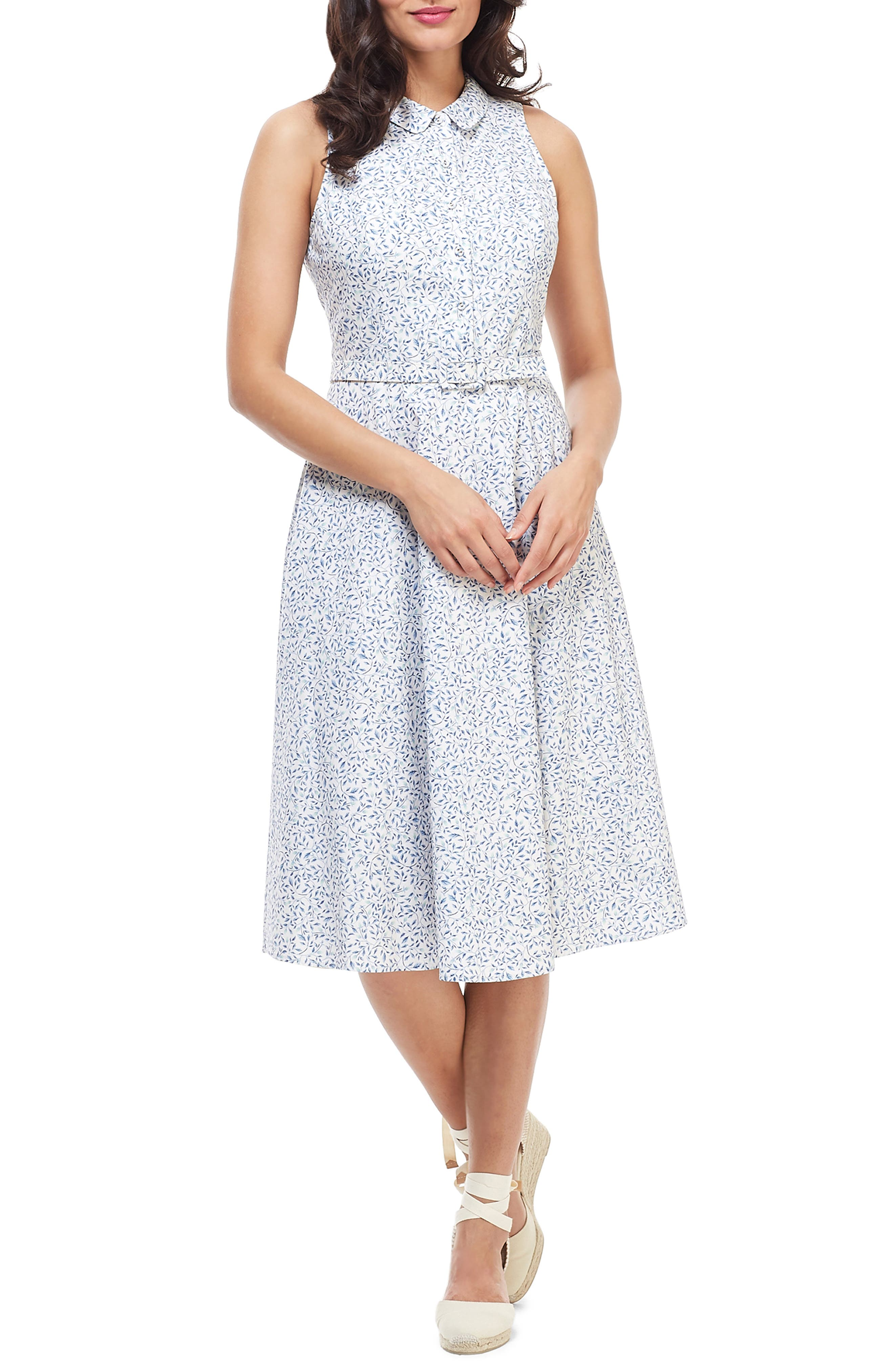Petite Gal Meets Glam Collection Rose Floral Button Up Fit & Flare Cotton Dress, Blue