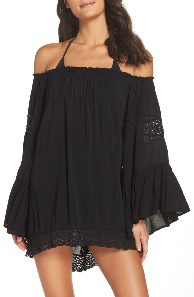 SURF GYPSY Off the Shoulder Cover-Up Tunic, Main, color, 001