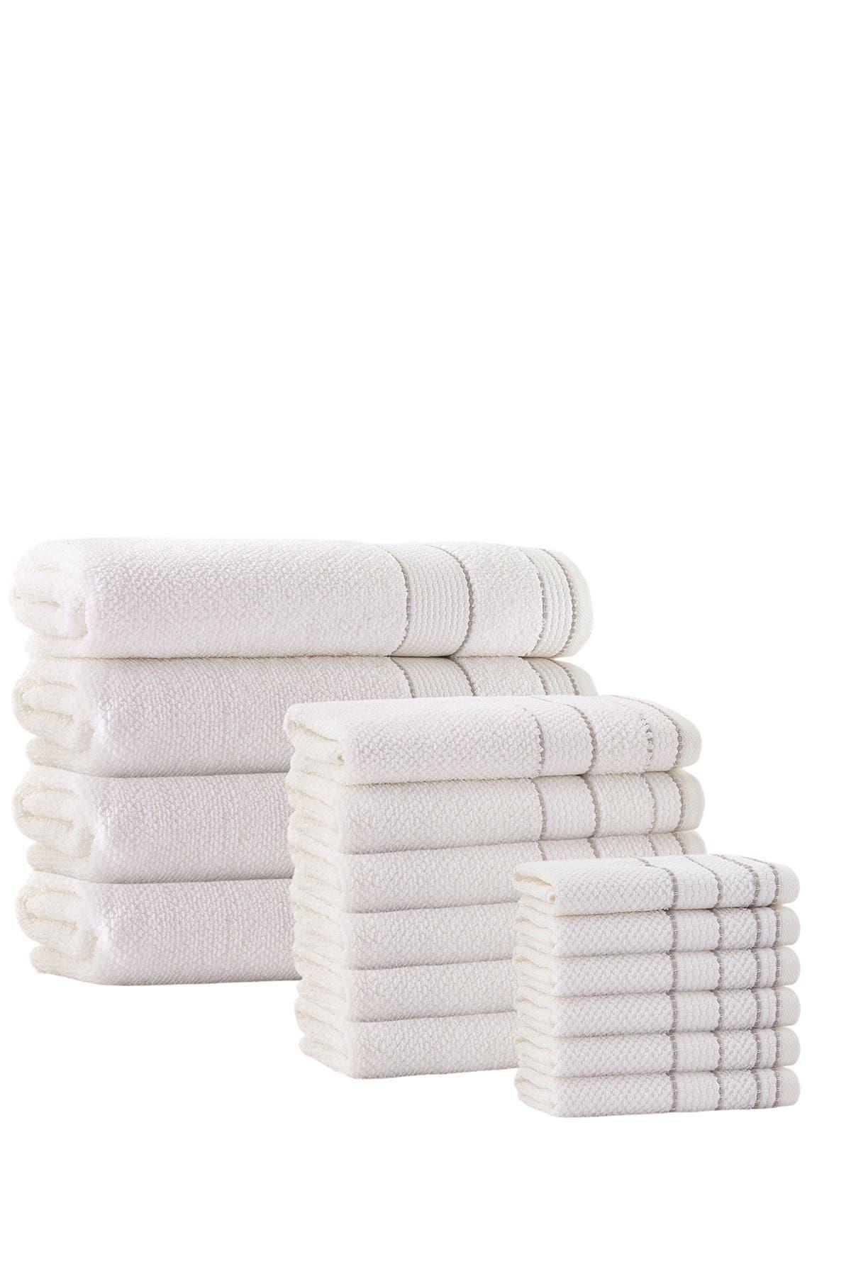 Image of ENCHANTE HOME Monroe Turkish Cotton 16-Piece Towel Set - Cream
