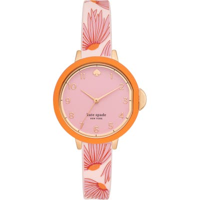 Kate Spade New York Park Row Floral Silicone Strap Watch,